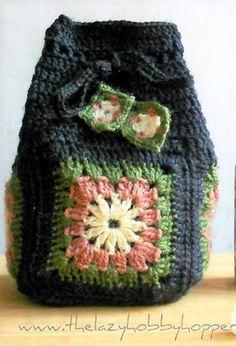 Granny drawstring bag crochet pattern