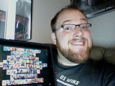 Goofy photo of myself along with my game Shanghai Mahjong running on my iPad for an article that Dr Touch put up: iPad Smiles.    Also you can see the corner of my HOSPITALITY! T-Shirt from Woot     I must admit, I'm actually an apple fanatic. I found this place where I got to test and keep an ipad and iphone, it's cool, check it out...