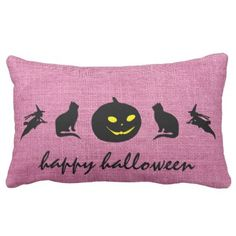 #Happy Halloween Burlap Lumbar Pillow - #Halloween happy halloween #festival #party #holiday