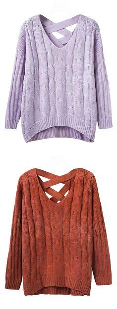 4692f974b9147 Joeoy Women s V Neck Cross Back Long Sleeve Cable Knit Sweater Jumper