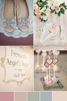 #Wedding #Colours... 3 main colours:- black groom, antique white bride & honeydew No.3 bridesmaids + 2 accent colours:- pale violet red and antique white No.2. For more colour ideas http://pinterest.com/groomsandbrides/wedding-colour-combinations/... Beachy Pastels - Wedding Colour Inspiration