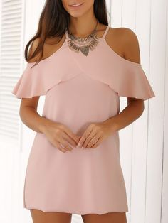 Fashion Spaghetti Straps Cold Shoulder Mini Dress For Women Pink Mini Dresses, Cute Dresses, Casual Dresses, Short Dresses, Summer Dresses, Women's Casual, Casual Winter, Dress Skirt, Dress Up