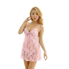Lace Lingerie Dress With G-string Underwear 2017 Sexy Lady Women  Transparent Intimates Sleepwear Crotchless 5a257e619