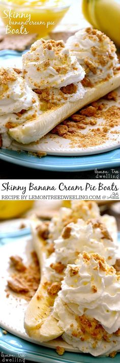 Recipes - Skinny Banana Cream Pie Boats - just 4 ingredients & a perfect (guilt-free) summer treat! lemontreedwelling.com