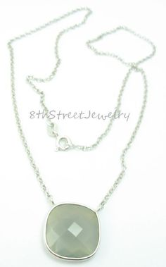 "JCM Sterling Silver 925 Fancy Faceted Grey Chalcedony Necklace 18"" #JCM #Necklace"