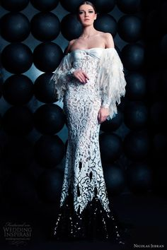 nicolas jebran spring summer 2013 couture off shoulder long sleeve gown