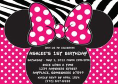 Minnie Mouse Printed Invitations With Envelopes-Hot Pink Minnie Mouse-Polka Minnie Mouse Party Decorations, 1st Birthday Decorations, 1st Birthday Parties, Minnie Mouse Birthday Invitations, Pink Minnie, Party Supplies, Polka Dot, Hot Pink, Prints