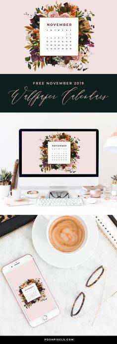 Free November 2019 Wallpaper Calendar - Posh Pixels Co November Calendar 2019, November 2019, November Wallpaper, Blog Tumblr, Designer Wallpaper, Wallpaper Designs, Wallpaper Ideas, Calendar Wallpaper, Macbook Wallpaper