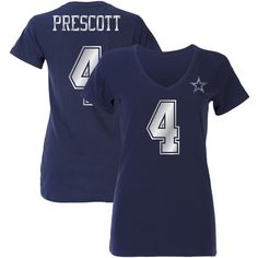 Women's Dak Prescott Navy Dallas Cowboys Shimmer Away Name & Number... ($32) ❤ liked on Polyvore featuring navy