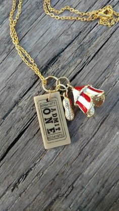 Gold Circus Charm Necklace Circus Ticket, Tent, Peanut Charms Unique Fashion Jewelry