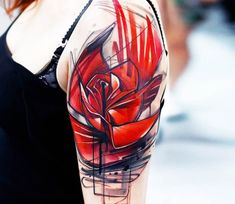 Red Rose tattoo by Uncl Paul Knows