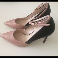 Victoria's Secret Genuine Leather Pumps Brand new and in box. Black heel, blush pink toe and ankle strap. Victoria's Secret Shoes Heels