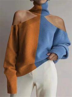 Fashion High Collar Off Shoulder Color Block Sweater - Fashion High Collar Off Shoulder Color Block Sweater – linenlooks color knit,knit wear,knitt - Collar Designs, Color Block Sweater, Sweater Fashion, Knit Fashion, Fashion Wear, Sweater Outfits, Mode Inspiration, High Collar, Mode Style