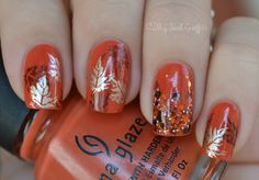 My Nail Graffiti: Fall Nail Art ft. China Glaze Life Preserver-- I'm not usually a fan of nail art, but I do love this fall look! Orange Nail Art, Orange Nail Designs, Fall Nail Art Designs, Orange Nails, Orange Color, Cute Nail Art, Cute Nails, Pretty Nails, My Nails