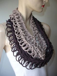 tshirt scarf. womens or mens shredded braided jersey eternity scarf , tshirt scarf , infinity scarf. loose weave. tan and brown tiedye ombre