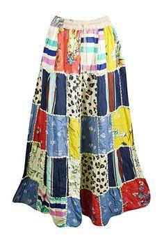 e554791ee0 Mogul Interior Women's Colorful Maxi Skirts Patchwork Boho Indian Hippie  Boho Gypsy Skirts S/M