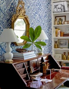 Take a peek into the Birmingham Home of designer Heather Chadduck. Beautiful interior design inspiration for your next decor project. Blue And White Wallpaper, Of Wallpaper, Business Office Decor, Home Office Decor, Office Ideas, Spanish Home Decor, Cafe House, Extra Bedroom, Thrifty Decor