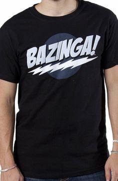 Black Big Bang Theory Bazinga T-Shirt: Sheldon Cooper Bazinga