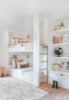 Just the AFTER // Client Black Houses are the Best Homes (Amber Interiors) - Kinderzimmer Ideen - Bedroom Decor Kids Bedroom Designs, Kids Room Design, Bunk Bed Designs, Bunk Beds Built In, White Bunk Beds, Double Bunk Beds, Triple Bunk, Trundle Bunk Beds, Kids Double Bed