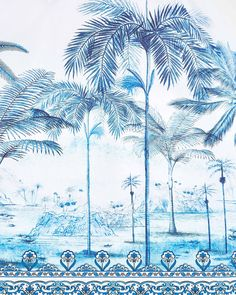 """FARM Rio on Instagram: """"The Beach Palm print and its paradise painted blue. 💙"""" Donate A Tree, Farm Rio, Palm Print, Maxi Dress With Sleeves, Paradise, Photo And Video, Retro, My Style, Beach"""