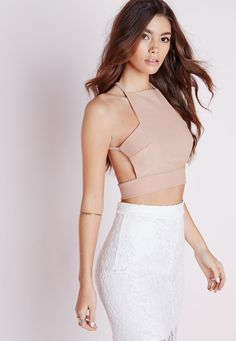 238e1c7c5853c Missguided - Cross Back Crepe Crop Top Taupe Tops Online