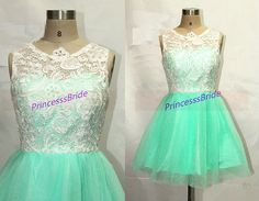 2014 mint tulle ivory lace bridesmaid dress short,cute a-line prom dresses hot,chic cheap women gowns for wedding party.    This dress is fully