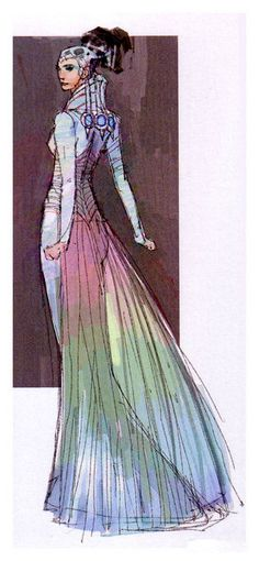 Star Wars Padme Amidala Wedding Dress - An early design of the wedding dress - Original Concept Art