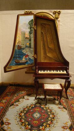 An upright harpsicord for Katherina and her seven beautiful, musical daughters Miniature Furniture, Dollhouse Furniture, Painted Pianos, Piano Room, Victorian Dolls, Wooden Crates, Kit Homes, Miniature Dolls, Musical Instruments
