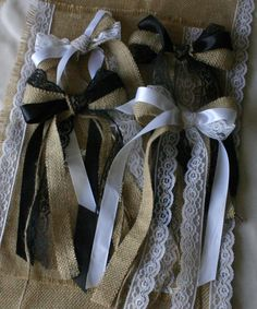 Country wedding decorative fabric bows 5 for 25 by Bannerbanquet, $25.00