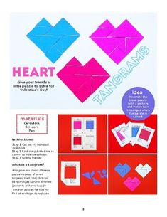 A printable puzzle for kids to solve!A tangram is a classic Chinese puzzle made up of seven shapes (called tans) that can be rearranged to form different geometric pictures. This printable puzzle is fun math activity for Valentine's Day! Creative Activities For Kids, Science Activities For Kids, Creative Kids, Projects For Kids, Steam Activities, Printable Valentines Day Cards, Valentines Day Activities, Cute Kids Crafts, Kid Crafts