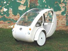 ELF Velomobile Kickstarter Three Wheeled Solar Vehicle.  Half bike, half car Solar and pedal powered urban vehicle by Organic Transit.  What a great idea!