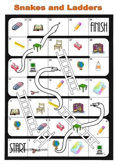 board game school things - English ESL Worksheets for distance learning and physical classrooms English Worksheets For Kids, English Games, English Activities, English Fun, English Study, English Lessons, Learn English, Speaking Games, Printable Board Games