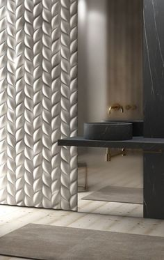 3D surfaces, frosted mirror - Most Unusual Wall Coverings for Every Room in the House