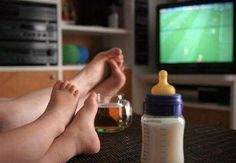 #family #baby #tv #child #kid #happiness #drink #milk #house