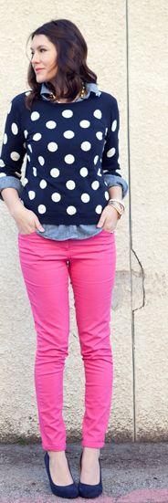 pink and navy and polka dots