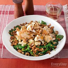 Cheesy Roasted Cauliflower and Garlicky Farro with Kale and Hazelnuts