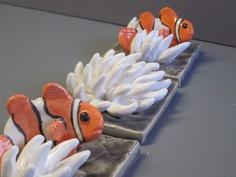 Coral Reef Wall Hanging, Clown Fish, Conk Shell, &  Anemonies On Blue Slate Reef, Ocean Art Beach Art. $105.00, via Etsy.