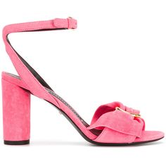 Stella Luna half bow sandals (€405) ❤ liked on Polyvore featuring shoes, sandals, leather footwear, pink bow shoes, leather sandals, stella luna and pink sandals