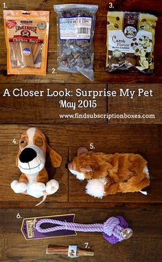 The Surprise My Pet May 2015 dog box included a variety of dog toys and treats to keep our dog playful and entertained. Read our full Surprise My Pet May 2015 Box Review to learn more! What was your dog's favorite May Surprise My Pet dog toy/treat? #findsubscriptionboxes
