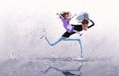 Rainy school day drop off.