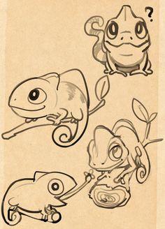Chameleon sketch by kukon.deviantart.com