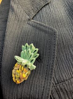 Black Toned Pineapple Tie Tack