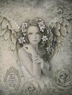 BEAUTIFUL!!! PRIMROSE Victorian inspired angel art 17 inch x 22 inch giclee print from original angel drawing by Jessica Galbreth. via Etsy.