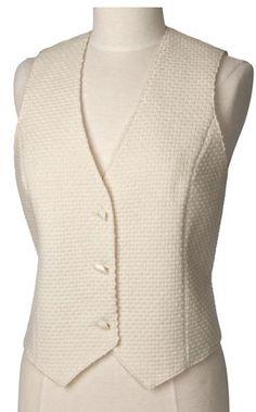 Ladies Cream Textured Wool Vest