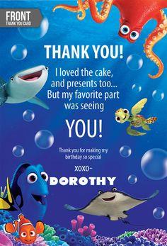 Finding Dory Invitation with FREE Thank You Card - Custom Birthday Invitations…