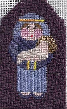 kathy schenkel needlepoint nativity figure, mary & baby jesus