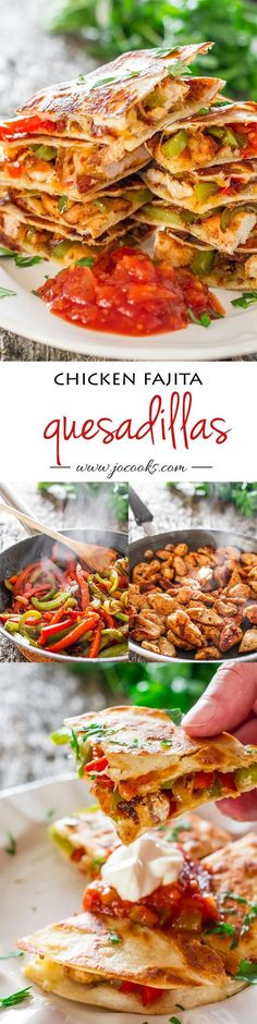 Chicken Fajita Quesadillas - sauteed onions, red and green peppers, perfectly seasoned chicken breast, melted cheese, between two tortillas. Simply yummy. /jocooks/