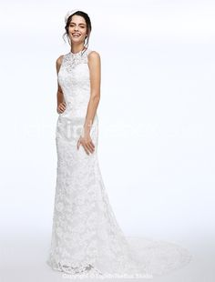 Lanting Bride® A-line Wedding Dress Court Train Jewel Lace with Beading / Button 2017 - $179.99