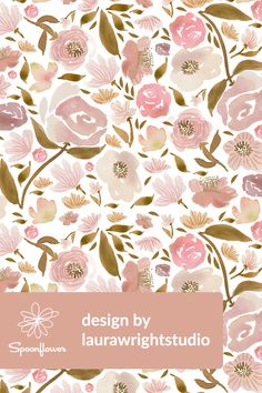 Baby Blush Roses Watercolor Flowers by laurawrightstudio - Hand painted watercolor flowers on fabric, wallpaper, and gift wrap. Beautiful hand painted watercolor flowers in pink and olive on a white background. #floral #watercolor #flowers #blush #pink #wedding #weddingfloral #watercolorfloral