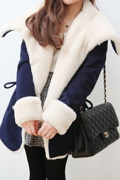 Faux Fur Collar Double Breasted Coat $76